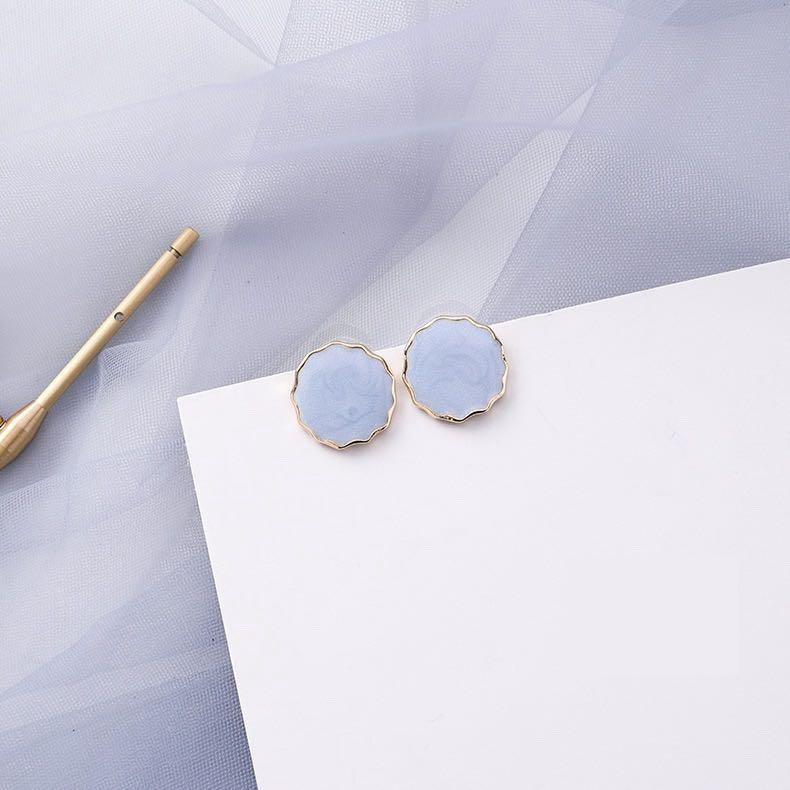 Elegant Blue Marble with Gold Rim Earrings