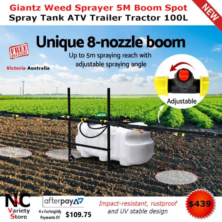 Giantz Weed Sprayer 5M Boom Spot Spray Tank ATV Trailer Tractor 100L