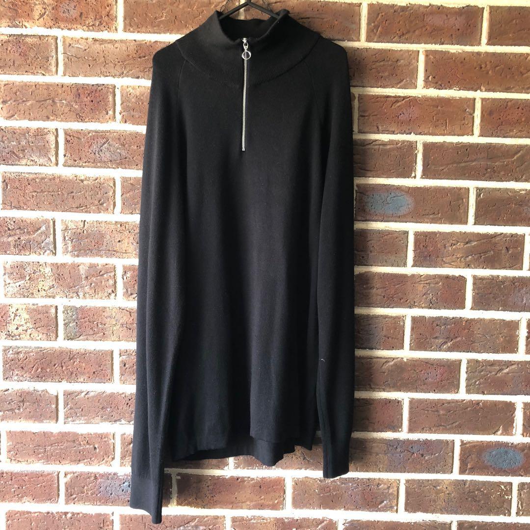 H&M Plain Black Half Zip Fleece