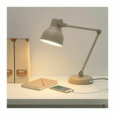 IKEA Hektar Beige Table Work Light/Lamp with USB Charging