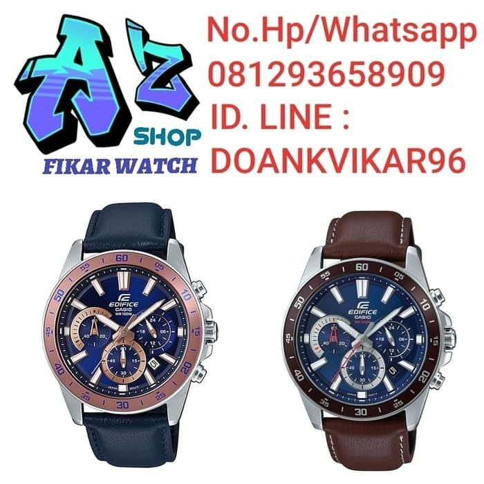 Jam Tangan Pria Casio Edifice EFV 570L Leather Kulit Original Murah