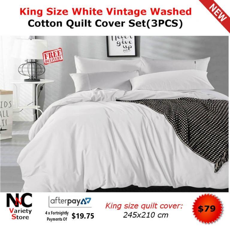 King Size White Vintage Washed Cotton Quilt Cover Set(3PCS)