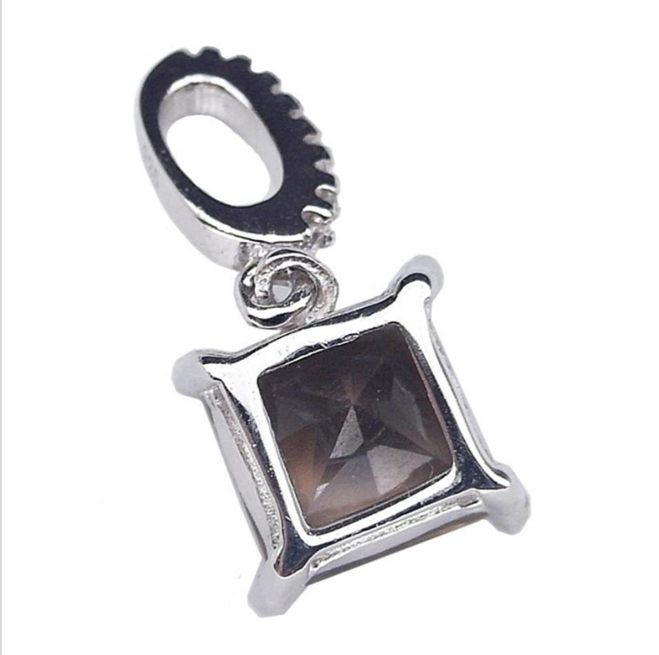 NATURAL PENDANT SMOKY QUARTZ PLATED WHITE GOLD 925 STERLING PERAK ASLI IMPORT CASUAL LOKET ELEGANT DAZZLING