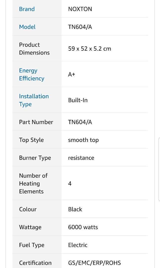 NOXTON Built-in 4 Zone Electric Hob Cooker 60cm Domino Ceramic Hobs Black Glass with Touch Controls [Energy Class A+]