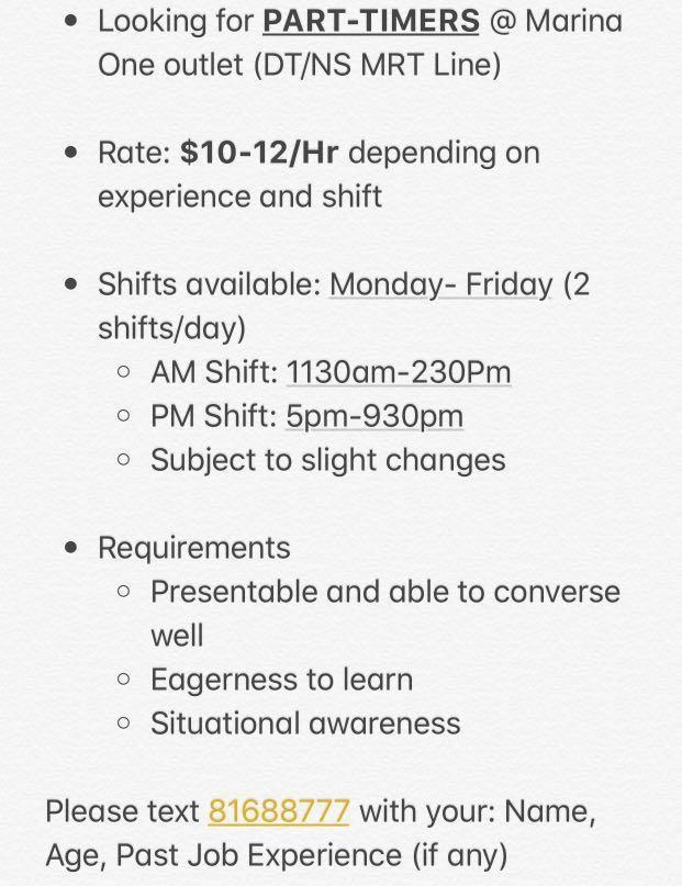 Part Time Service Crew/Cashier