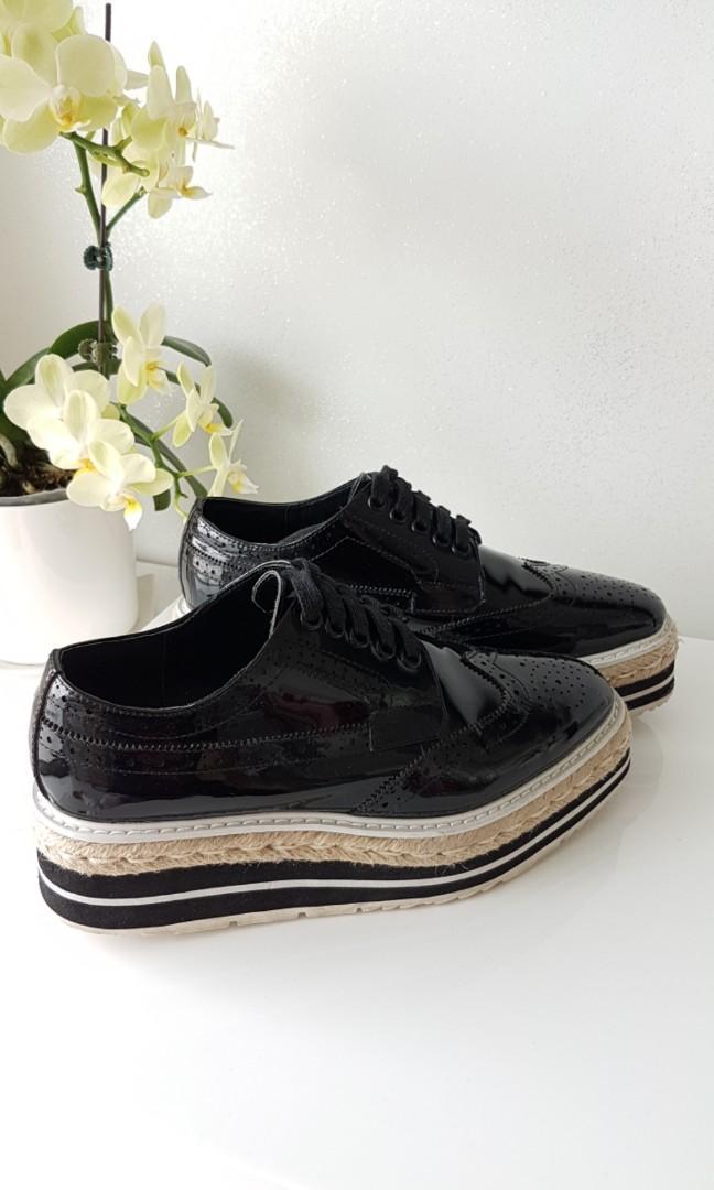 black patent leather platform shoes