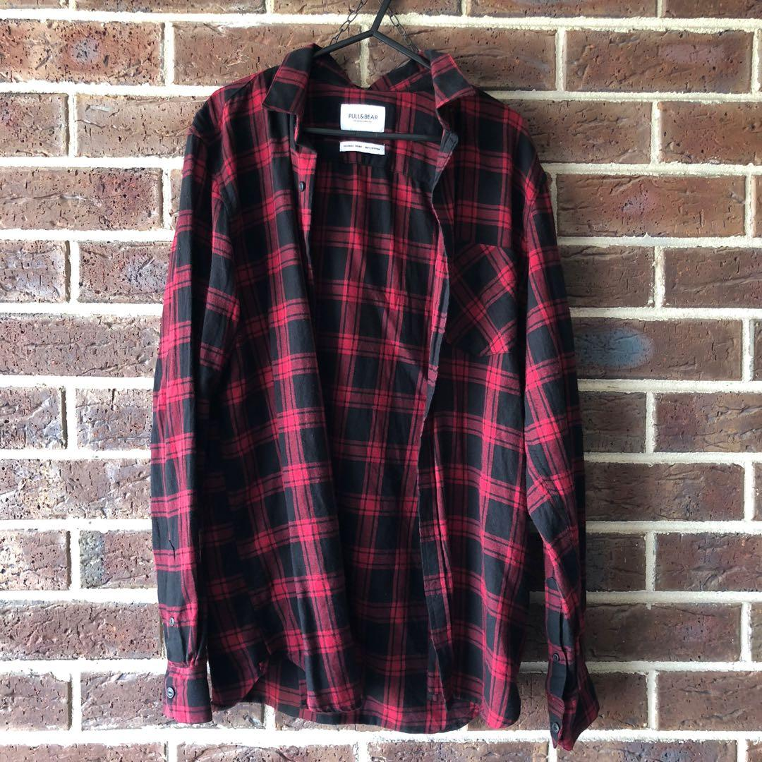 Pull & Bear Red Flannel Button Up Shirt