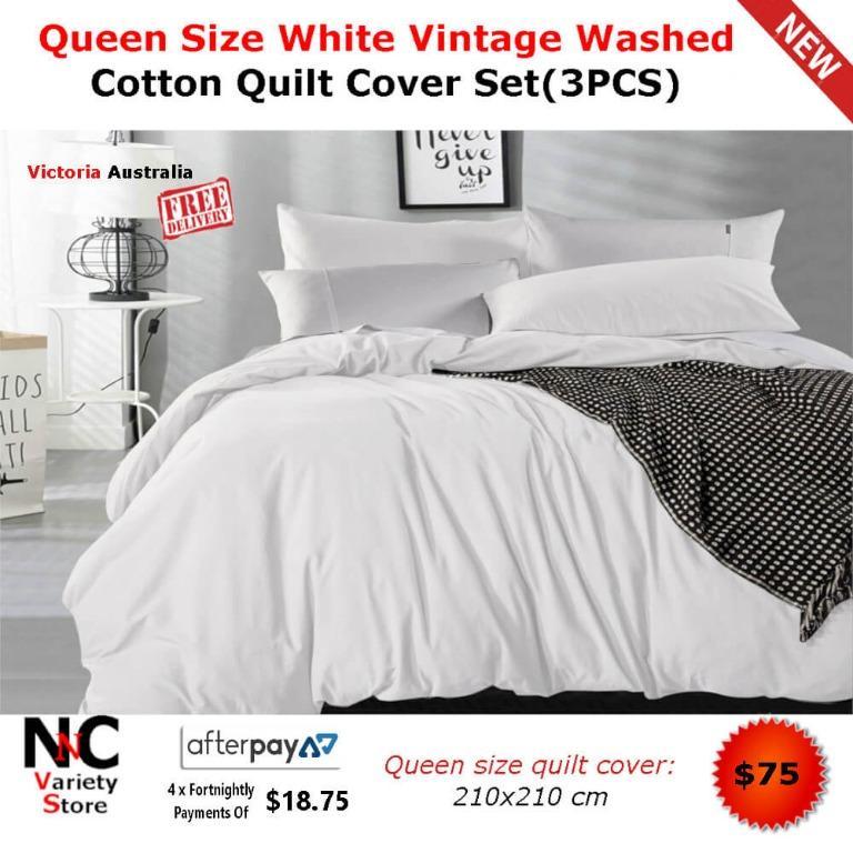 Queen Size White Vintage Washed Cotton Quilt Cover Set(3PCS)