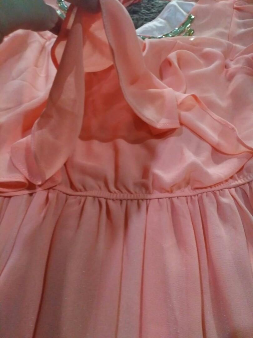 Repost Peach flare Dress cantikk 👍
