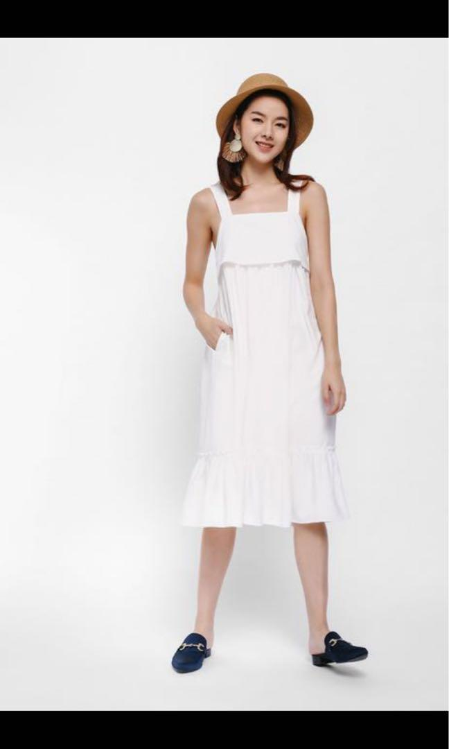 Roseni Ruffle Hem Layered Apron Dress - Love Bonito