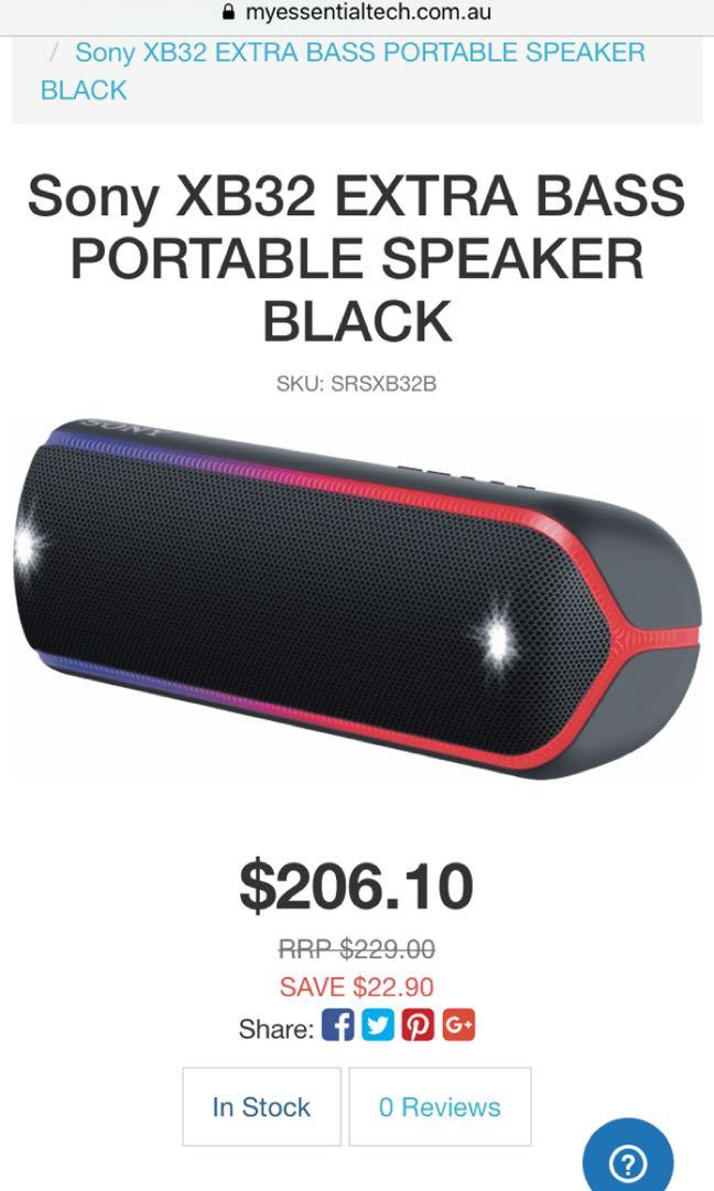 Sony XB-32 EXTRA BASS PORTABLE SPEAKER WITH COLOURED LIGHTS