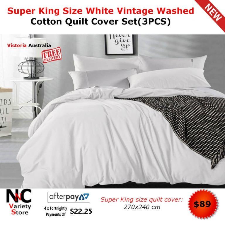 Super King Size White Vintage Washed Cotton Quilt Cover Set(3PCS)