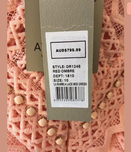 thurley : la ramba ombre beaded midi dress size:10.12 -NEW- $799