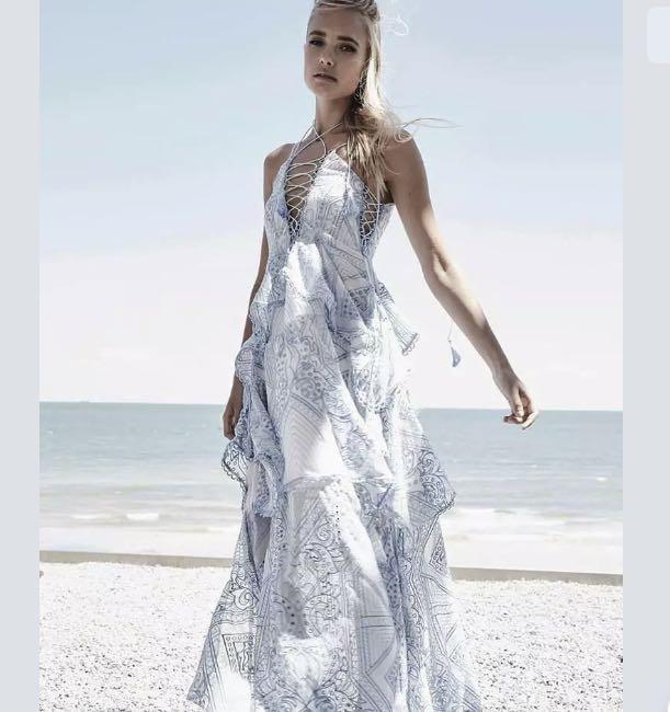 thurley : positano princess lace up maxi blue dress size: 6.8.10 -NEW- $899