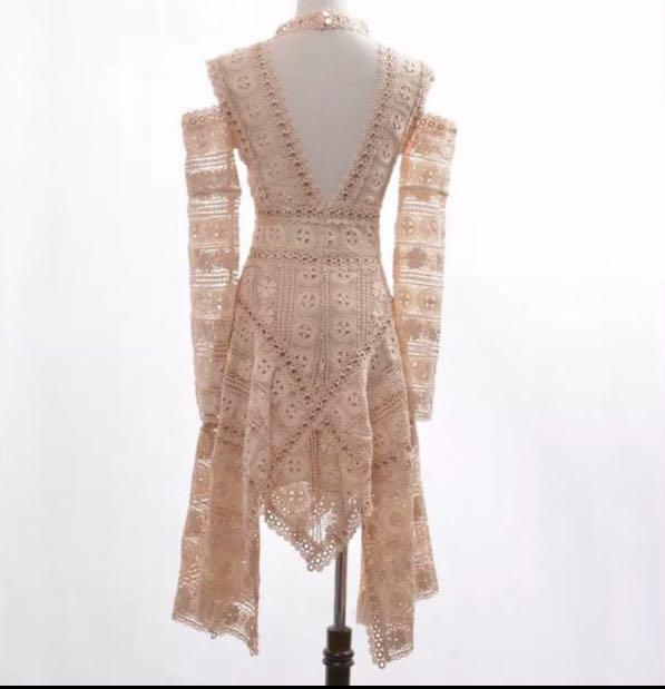 Thurley Inspired Soft Peach Lace Cutout Shoulder Dress