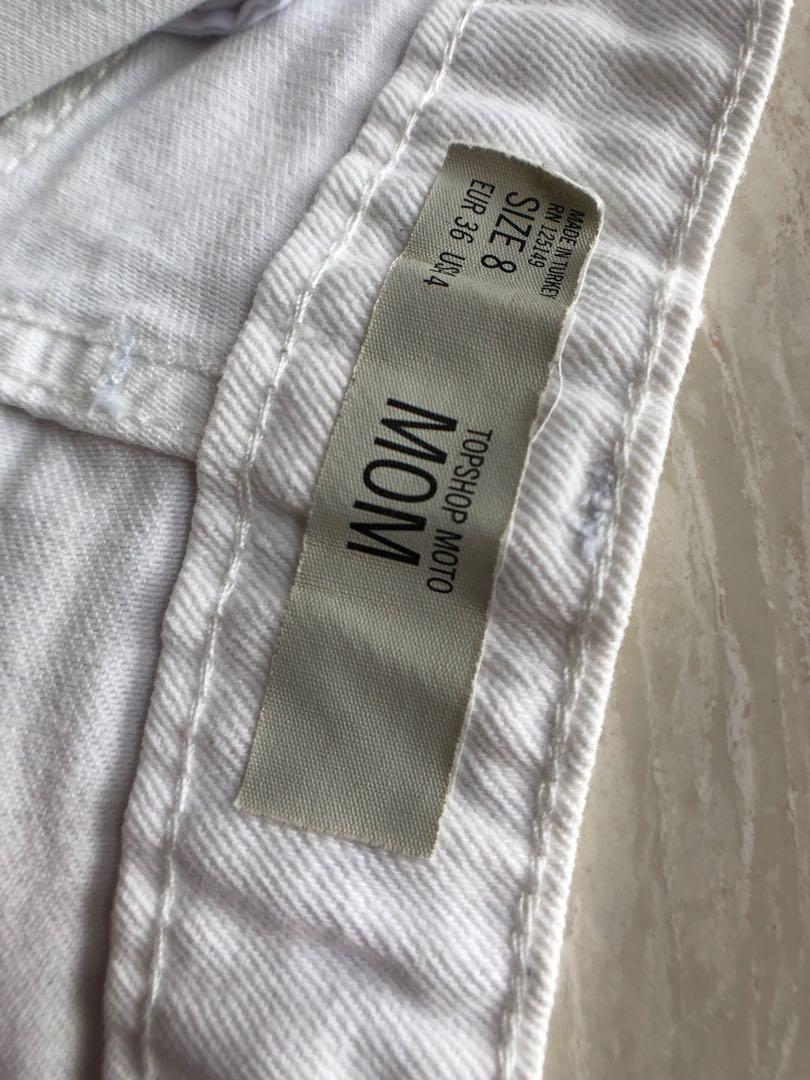 Topshop High Waisted Denim Shorts White