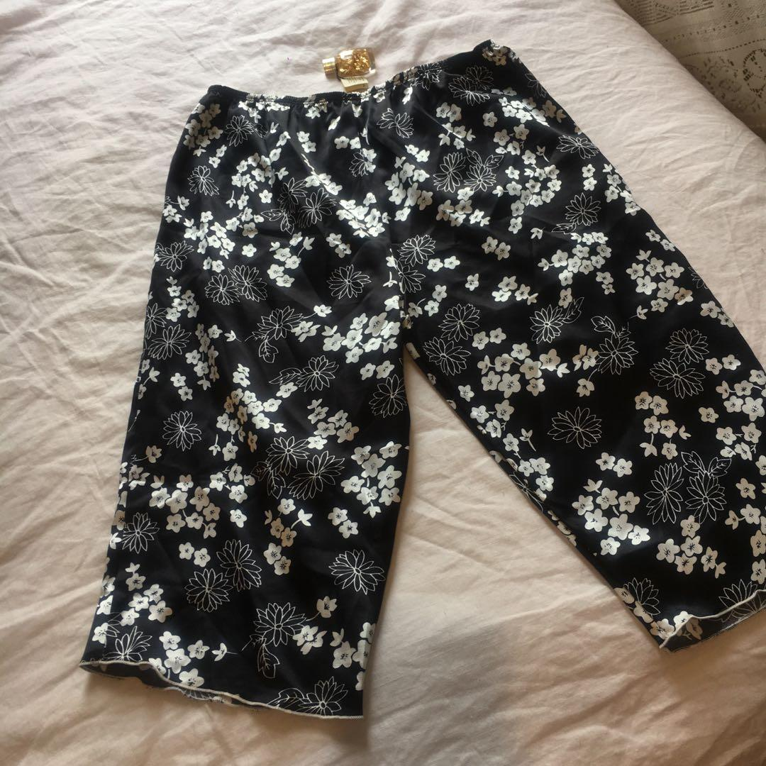 Vintage Satin Black & White Floral Shorts | Mid-High Waisted