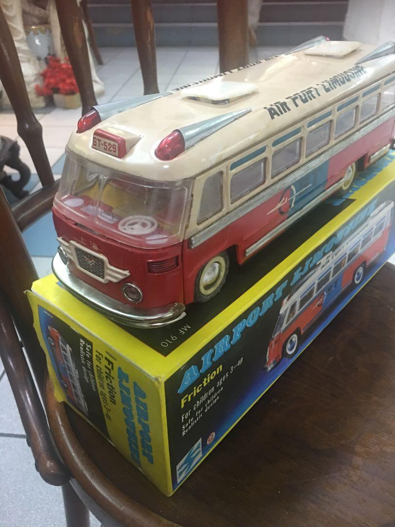Vintage tin toy Airport Limousine Bus ( by Friction)