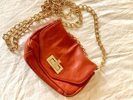 🇺🇸✨ Pietra Alessandra✨🇺🇸橘紅小牛皮真皮金鍊側包/口袋包