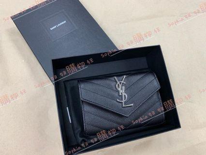 YSL Saint Lauren 黑色 logo 銀字 翻蓋 零錢包 414404 *全新商品