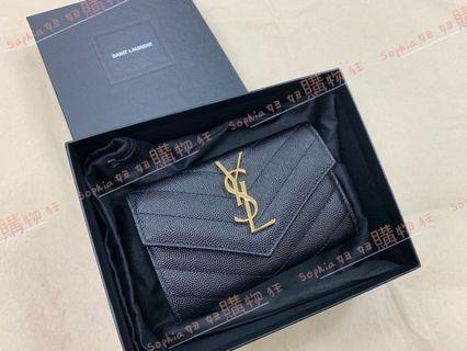 YSL Saint Lauren 黑色 logo 金字 翻蓋 零錢包 414404 *全新商品