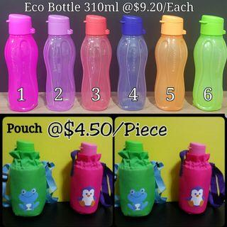 Instock Authentic Tupperware  Eco Bottle 310ml Flip top  @$9.20/Each Pouch @$4.50/Each