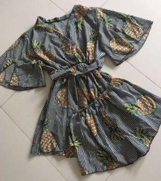 Pineapple stripe kimono set clearance