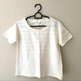 eyelet embroidered tee in ivory/cream