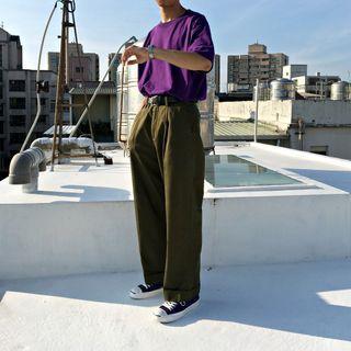 【二手】YU SELECT-優選 URBAN RESEARCH M號 軍綠色打摺緞面反摺長褲