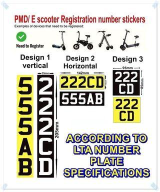 E-Scooter PMD LTA COMPLIANT Identification Number Sticker