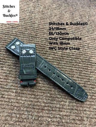 Customized 21/18mm Riveted Alligator Leather Watch Straps for IWC Pilot 3717/3777 Chronograph Models