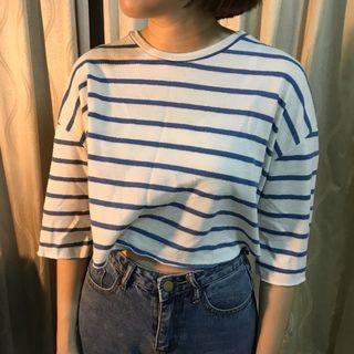 Lulus藍條紋短版T