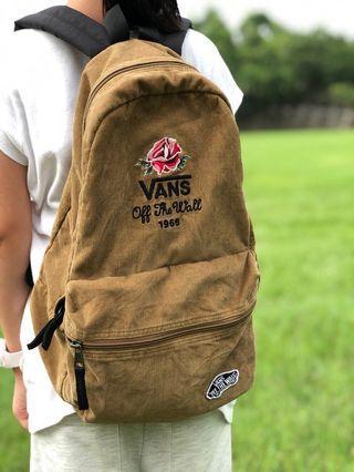 二手 VANS 咖啡色 燈芯絨 玫瑰刺繡 後背包