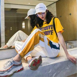 #392 (2 DESIGNS) colourblock vintage sweatpants trousers long pants ulzzang retro 3 stripes white black dance joggers track pants