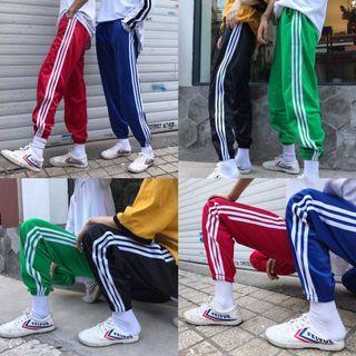 #394 3 stripes sweatpants adidas blue green black red long pants trackpants side bar dance joggers trousers