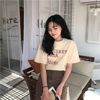 #395 (6 COLOURS) whiskey soda and rocks graphic tee vintage ulzzang retro pink white green orange blue apricot