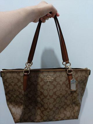 Coach Mia Shoulder Bag Signature Large Tote Crossbody Khaki Saddle