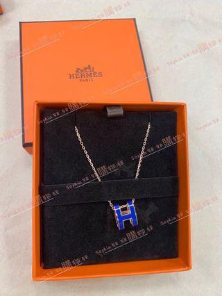 Hermes 閃電藍 珐瑯H 玫瑰金鍊項鍊 *全新商品*