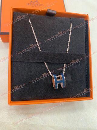 Hermes 鈷藍色 珐瑯H 玫瑰金鍊項鍊 *全新商品*