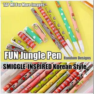 Pen, Children Day Gift, Stationery, Birthday, Christmas, Cute SMIGGLE-INSPIRED Korean Style FUN Jungle Pen (Black Ink ) for Party, Gifts, Goodie Bag