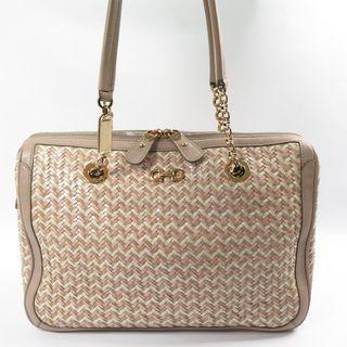 Ferragamo Straw Shoulder Blush / Pink / Brown Tote Bag
