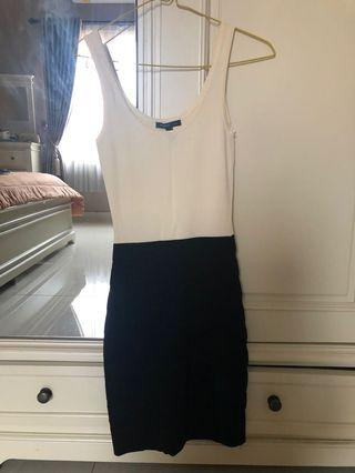Mango Dress black-white