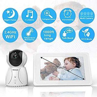 "Baby Monitor BIGASUO Video Baby Monitor 2018 with Camera & 720P 7"" HD LCD Digital Screen, Two Way Audio & 5 Baby Lullabies, Sound & Movement Alarm, Night Vision, Wireless Video Baby Monitor"