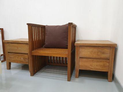 Old Teak Bedside Cabinet