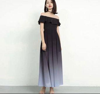 Ombré Off Shoulder Maxi Dress