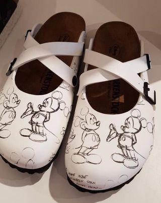Birkenstock Arizona Birko-Flor Mickey Heritage Black & White Sandals Slides Japan Import