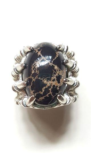 Black Turquoise Titanium Ring
