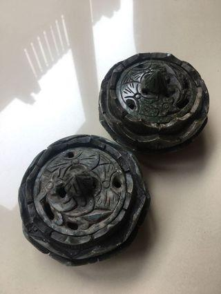 Pair of Chinese Handcarved Green Stone - Lotus Flower Incense Burner