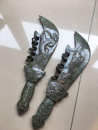 Pair of Chinese Handcarved Green Stone  - Large Dragon Ringed Knife