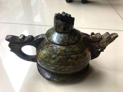 Chinese Handcarved Green Stone - Dragon Teapot